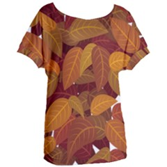Leaves Pattern Women s Oversized Tee by Wegoenart