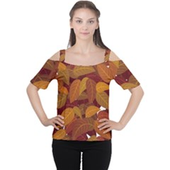 Leaves Pattern Cutout Shoulder Tee