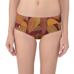 Leaves Pattern Mid Waist Bikini Bottoms