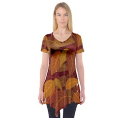 Leaves Pattern Short Sleeve Tunic