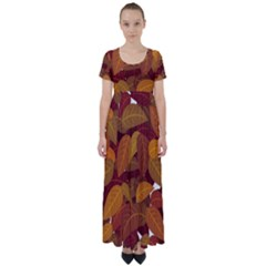 Leaves Pattern High Waist Short Sleeve Maxi Dress