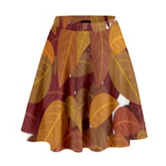 Leaves Pattern High Waist Skirt
