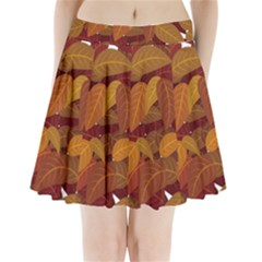 Leaves Pattern Pleated Mini Skirt