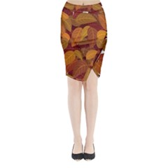 Leaves Pattern Midi Wrap Pencil Skirt