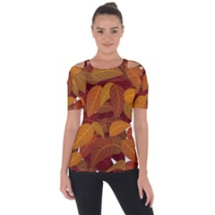 Leaves Pattern Shoulder Cut Out Short Sleeve Top