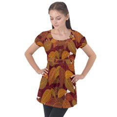 Leaves Pattern Puff Sleeve Tunic Top