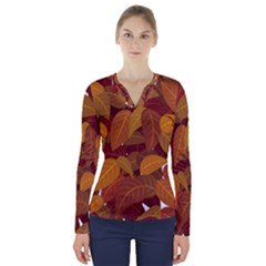 Leaves Pattern V Neck Long Sleeve Top