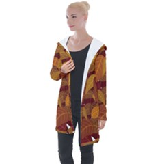 Leaves Pattern Longline Hooded Cardigan