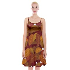 Leaves Pattern Spaghetti Strap Velvet Dress