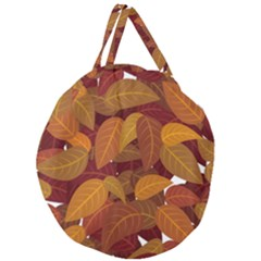 Leaves Pattern Giant Round Zipper Tote