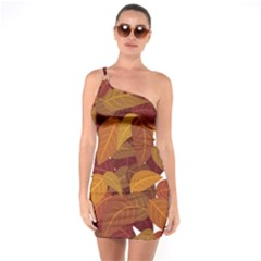 Leaves Pattern One Soulder Bodycon Dress