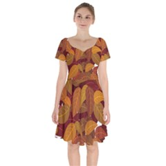 Leaves Pattern Short Sleeve Bardot Dress