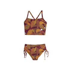 Leaves Pattern Girls  Tankini Swimsuit