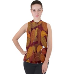 Leaves Pattern Mock Neck Chiffon Sleeveless Top