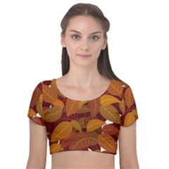 Leaves Pattern Velvet Short Sleeve Crop Top