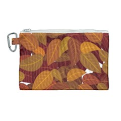 Leaves Pattern Canvas Cosmetic Bag (large)