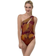 Leaves Pattern To One Side Swimsuit