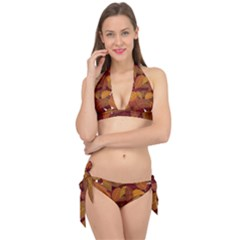 Leaves Pattern Tie It Up Bikini Set