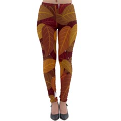 Leaves Pattern Lightweight Velour Leggings