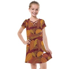 Leaves Pattern Kids  Cross Web Dress