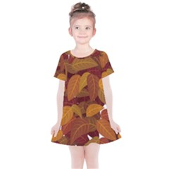 Leaves Pattern Kids  Simple Cotton Dress