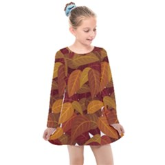 Leaves Pattern Kids  Long Sleeve Dress
