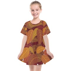 Leaves Pattern Kids  Smock Dress