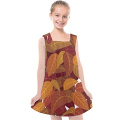Leaves Pattern Kids  Cross Back Dress