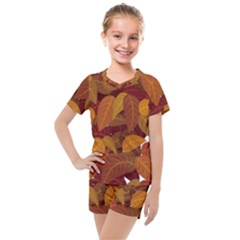 Leaves Pattern Kids  Mesh Tee And Shorts Set