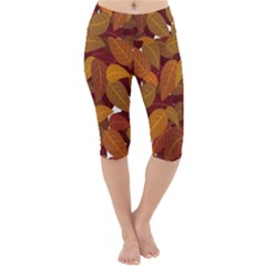Leaves Pattern Lightweight Velour Cropped Yoga Leggings