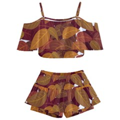 Leaves Pattern Kids  Off Shoulder Skirt Bikini