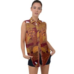 Leaves Pattern Sleeveless Chiffon Button Shirt