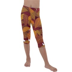 Leaves Pattern Kids  Lightweight Velour Capri Leggings