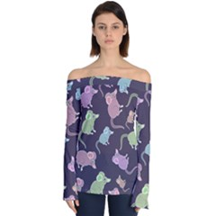 Animals Mouse Cartoon Pet Off Shoulder Long Sleeve Top