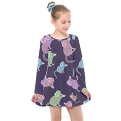 Animals Mouse Cartoon Pet Kids  Long Sleeve Dress by Wegoenart