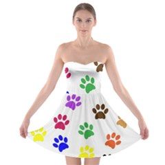 Pawprints Paw Prints Paw Animal Strapless Bra Top Dress