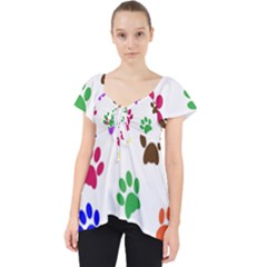 Pawprints Paw Prints Paw Animal Lace Front Dolly Top