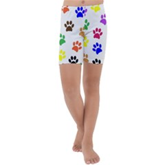 Pawprints Paw Prints Paw Animal Kids  Lightweight Velour Capri Yoga Leggings by Wegoenart