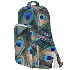 Peacock Feathers Bird Colorful Double Compartment Backpack by Wegoenart