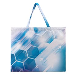 Hexagon Euclidean Vector Gradient Del  Blue Color Science And Technology Zipper Large Tote Bag