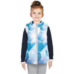 Hexagon Euclidean Vector Gradient Del  Blue Color Science And Technology Kid s Hooded Puffer Vest by Wegoenart