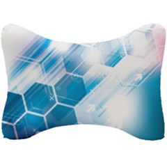 Hexagon Euclidean Vector Gradient Del  Blue Color Science And Technology Seat Head Rest Cushion by Wegoenart