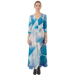 Hexagon Euclidean Vector Gradient Del  Blue Color Science And Technology Button Up Boho Maxi Dress
