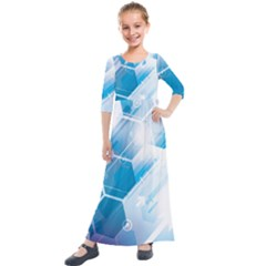 Hexagon Euclidean Vector Gradient Del  Blue Color Science And Technology Kids  Quarter Sleeve Maxi Dress