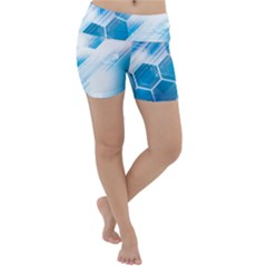 Hexagon Euclidean Vector Gradient Del  Blue Color Science And Technology Lightweight Velour Yoga Shorts