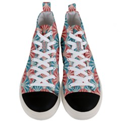 Seamless Patter Peacock Feathers Men s Mid Top Canvas Sneakers