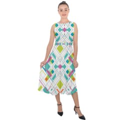 Graphic Design Geometry Shape Pattern Geometric Midi Tie Back Chiffon Dress