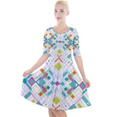 Graphic Design Geometry Shape Pattern Geometric Quarter Sleeve A Line Dress