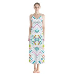 Graphic Design Geometry Shape Pattern Geometric Button Up Chiffon Maxi Dress by Wegoenart