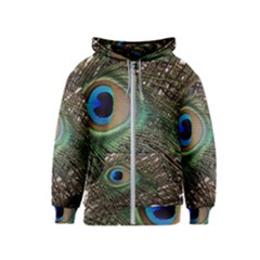Peacock Tail Feathers Kids  Zipper Hoodie